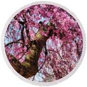 Flower - Sakura - Finally It's Spring Round Beach Towel by Mike Savad