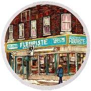 Flower Shop Rue Notre Dame Street Coin Vert Fleuriste Boutique Montreal Winter Stroll Scene Round Beach Towel
