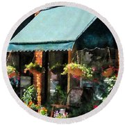 Flower Shop With Green Awnings Round Beach Towel