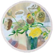 Flower Still Life          Round Beach Towel