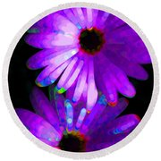 Flower Study 6 - Vibrant Purple By Sharon Cummings Round Beach Towel by Sharon Cummings