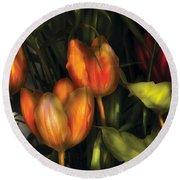 Flower - Tulip -  Orange Irene And Red  Round Beach Towel