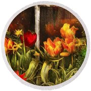 Flower - Tulip - Tulips In A Window Round Beach Towel