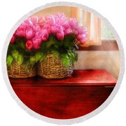 Flower - Tulips By A Window Round Beach Towel by Mike Savad