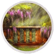 Flower - Wisteria - A Lovers View Round Beach Towel by Mike Savad