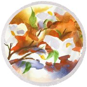 Flowering Dogwood IIi Round Beach Towel by Kip DeVore