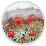 Flowering Field Round Beach Towel