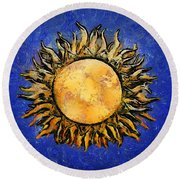 Flowering Sun Round Beach Towel