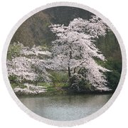 Flowering Tree At The Pond Round Beach Towel