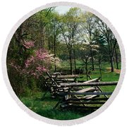 Flowering Trees In Bloom Along Fence Round Beach Towel