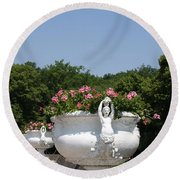 Flowerpots In A Row - Chateau Chenonceau Round Beach Towel
