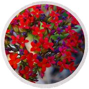 Flowers 3 Round Beach Towel
