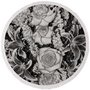 Flowers Abstract Round Beach Towel
