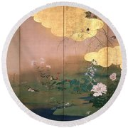 Flowers And Birds Of The Four Seasons Round Beach Towel