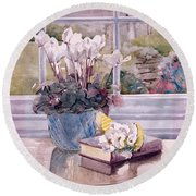 Flowers And Book On Table Round Beach Towel