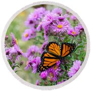 Flowers And Butterfly  Round Beach Towel
