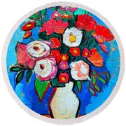 Flowers And Colors Round Beach Towel by Ana Maria Edulescu
