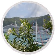 Flowers And Freedom Round Beach Towel