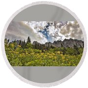Flowers And Mountains And Sky...oh My Round Beach Towel
