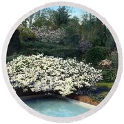 Flowers And Pool Round Beach Towel