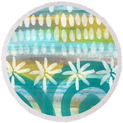 Flowers And Waves- Abstract Pattern Painting Round Beach Towel