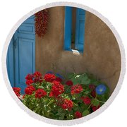 Flowers At Ranchos De Taos Round Beach Towel