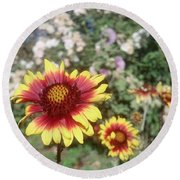 Flowers At The Farm Round Beach Towel