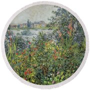 Flowers At Vetheuil Round Beach Towel