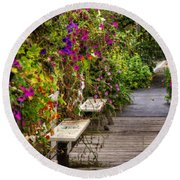 Flowers By A Bench  Round Beach Towel