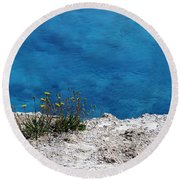Flowers By The Blue Round Beach Towel