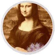Flowers For Mona Lisa Round Beach Towel