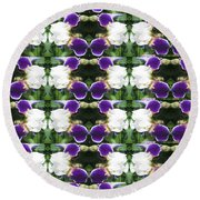 Flowers From Cherryhill Nj America White  Purple Combination Graphically Enhanced Innovative Pattern Round Beach Towel