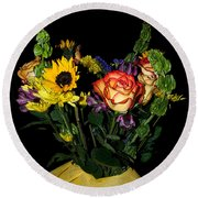 Flowers From The Heart Round Beach Towel