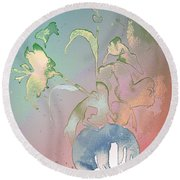 Flowers Ghosts Round Beach Towel