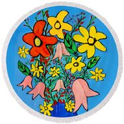 Flowers In A Blue Vase Round Beach Towel