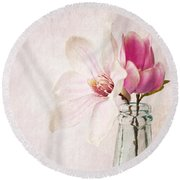 Flowers In A Bottle Round Beach Towel