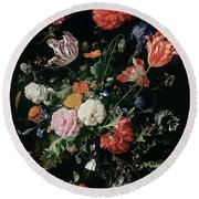 Flowers In A Glass Vase, Circa 1660 Round Beach Towel