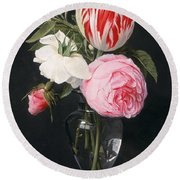 Flowers In A Glass Vase Round Beach Towel by Daniel Seghers