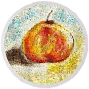 Flowers In A Mosaic Apple Round Beach Towel
