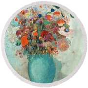 Flowers In A Turquoise Vase Round Beach Towel