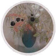 Flowers In A Vase Round Beach Towel