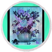 Flowers In A Vase With Blue Border Round Beach Towel