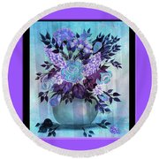 Flowers In A Vase With Lilac Border Round Beach Towel