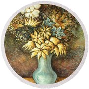 Flowers In Blue Vase - Still Life Oil Round Beach Towel