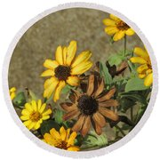 Flowers In Fall 1 Round Beach Towel