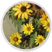 Flowers In Fall 2 Round Beach Towel