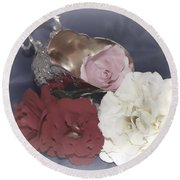 Flowers In Silver Round Beach Towel
