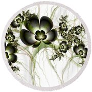 Flowers In The Antique Look Round Beach Towel