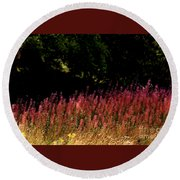 Flowers In The Breeze Round Beach Towel