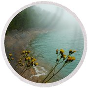 Flowers In The Fog Round Beach Towel